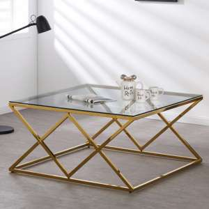 Roma Clear Glass Coffee Table With Gold Stainless Steel Legs