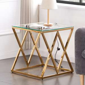 Roma Clear Glass Side Table With Gold Stainless Steel Legs