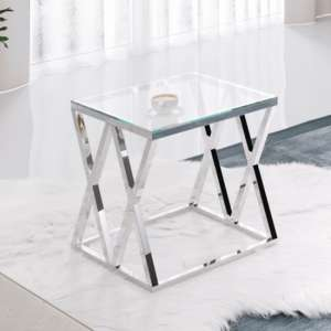 Roma Clear Glass Side Table With Silver Stainless Steel Legs