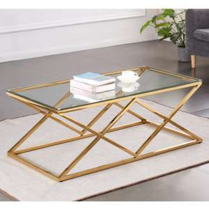 Roma Rectangular Clear Glass Coffee Table With Gold Steel Legs