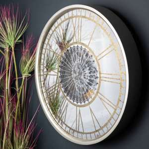 Romanian Round Mirrored Wall Clock In Gold