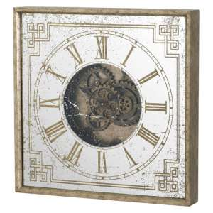 Romanian Square Mirrored Wall Clock In Gold