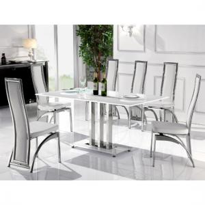 Rossi Dining Table In White Glass With 6 Dining Chairs