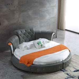 Romantica Round Chesterfield Style Bed In Grey Bonded Leather