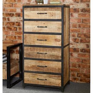 Clio Chest Of Drawers Tall In Reclaimed Wood And Metal Frame