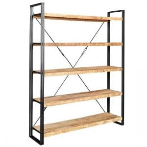 Clio Wide Bookcase In Reclaimed Wood And Metal Frame