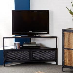 Romarin Corner TV Stand In Reclaimed Wood And Metal Frame