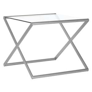 Romelo Clear Glass Side Table With Satin Nickel Frame