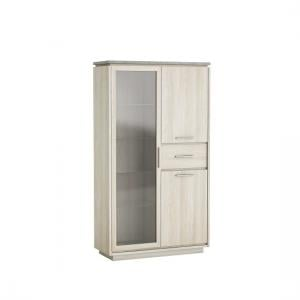 Romford Glass Display Cabinet In Shannon Oak And Concrete
