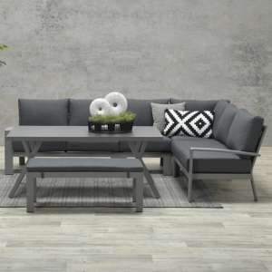 Ronke Large Corner Lounge Sofa With Dining Set In Artic Grey
