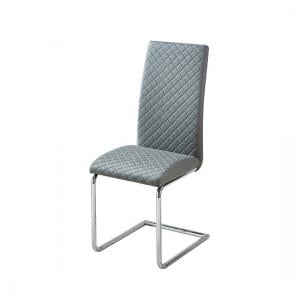 Ronn Dining Chair In Grey Faux Leather With Chrome Legs