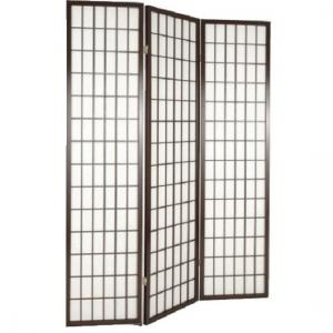 Wooden Folding Room Divider Screen In Tobacco
