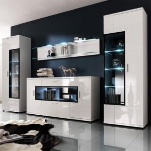 Corona Contemporary Room Set In White High Gloss