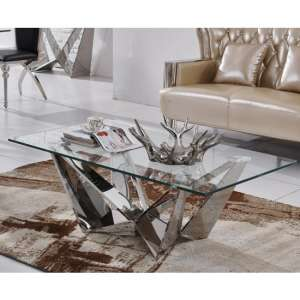 Rosali Clear Glass Coffee Table With Silver Stainless Steel Legs