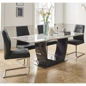 Roscoe Marble Dining Table In White With 4 Charcoal Chairs