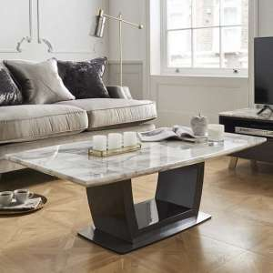 Roscoe Marble Coffee Table In White With High Gloss Metal Base