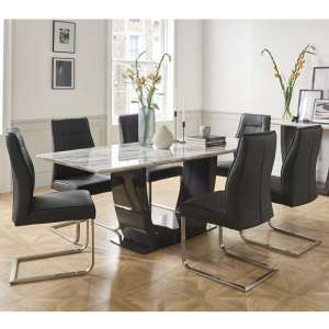 Roscoe Marble Dining Table In White With 6 Charcoal Chairs