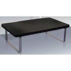 Roseta Coffee Table In Black High Gloss With Steel Legs