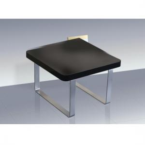 Roseta End Table Square In Black High Gloss With Steel Legs