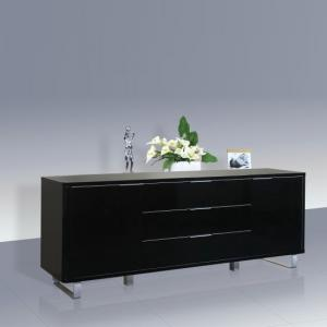 Roseta Sideboard In Black High Gloss With 2 Doors And 3 Drawers