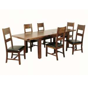 Ross Large Dining Table In Acacia With Six Dining Chairs
