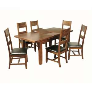 Ross Medium Dining Table In Acacia With Six Dining Chairs