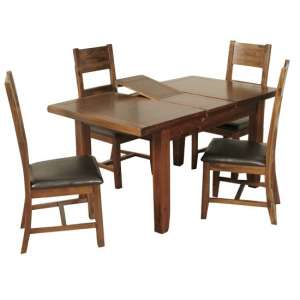 Ross Small Dining Table In Acacia With Four Dining Chairs