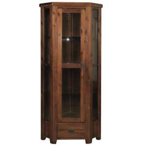 Ross Wooden Corner Display Cabinet In Acacia Finish