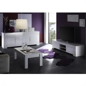 ... Rossini Wide TV Stand In White Gloss With 2 Drawers_2 Part 57