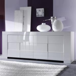 Rossini Wooden Sideboard In White Gloss With 4 Doors