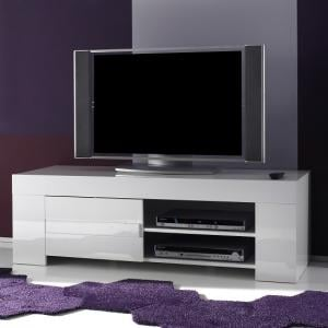 Rossini Contemporary TV Stand In White Gloss With 1 Door