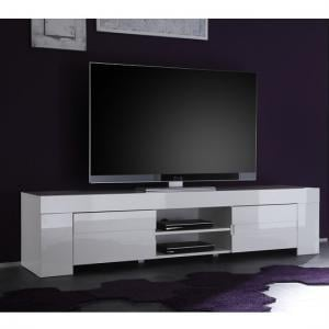 Rossini Wide TV Stand In White Gloss With 2 Drawers