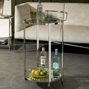 Rotanev Clear Glass Drinks Trolley In Nickel