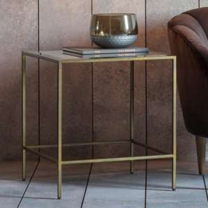 Rothbury Clear Glass Side Table With Bronze Metal Base