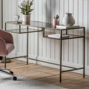 Rothbury Clear Glass Top Laptop Desk With Bronze Metal Frame