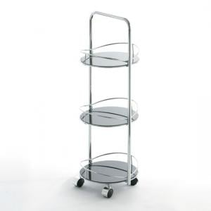 3 Tier Round Black Glass Bathroom trolley