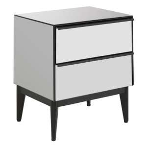 Rovigo Bedside Cabinet In Mirrored Glass With 2 Drawer