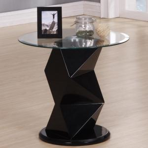 Aruba Lamp Table Round In Clear Glass And Black High Gloss
