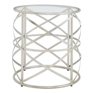 Muscida Tempered Glass Side Table With Iron Legs