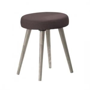 Rufford Wooden Dressing Table Stool Round In Grey Oak Effect