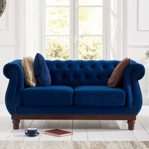 Ruskin 2 Seater Sofa In Blue Plush With Dark Ash Legs