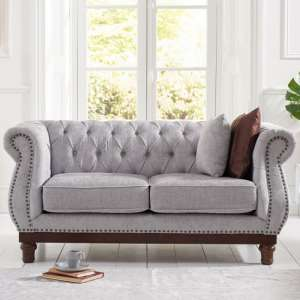 Ruskin 2 Seater Sofa In Grey Plush With Dark Ash Legs