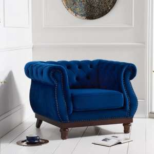 Ruskin Sofa Chair In Blue Plush With Dark Ash Legs
