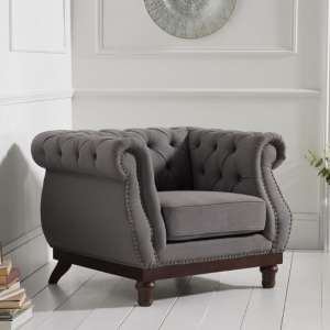 Ruskin Sofa Chair In Grey Linen With Dark Ash Legs