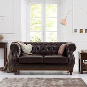 Ruskin 2 Seater Sofa In Brown Leather With Dark Ash Legs