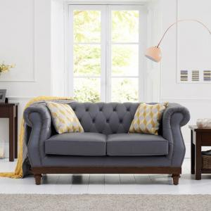 Ruskin 2 Seater Sofa In Grey Leather With Dark Ash Legs