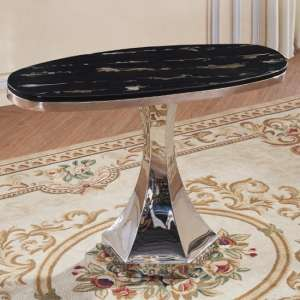 Russet Marble Effect Console Table In Black And Stainless Steel