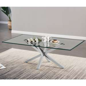 Russo Glass Coffee Table In Clear With Silver Steel Base