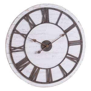Rustics Wooden Wall Clock In White And Brown With Aged Numerals