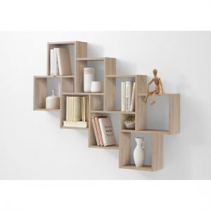 Rutland Wooden Large Wall Mounted Shelving Unit In Oak